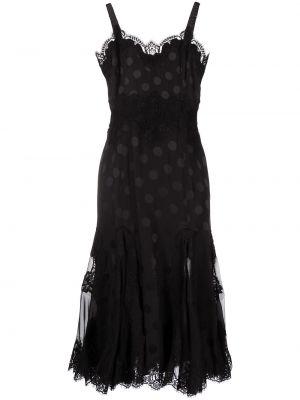 Кружевное черное платье в горошек Dolce & Gabbana