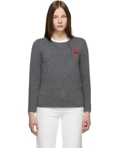 Z rękawami wełniany długi sweter z kołnierzem z łatami Comme Des Garcons Play
