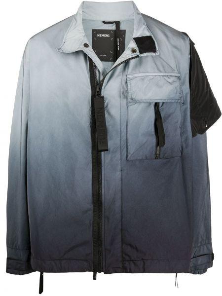 Нейлоновая синяя длинная куртка на резинке с манжетами Nemen