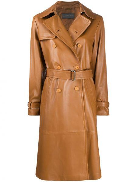 С рукавами коричневое длинное пальто с лацканами с карманами Alberta Ferretti