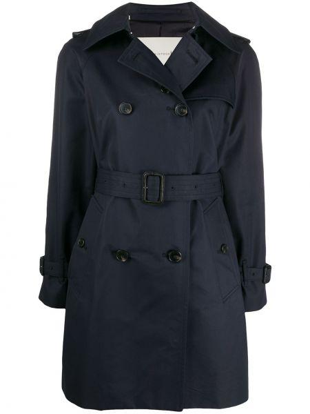 Синее пальто классическое с воротником на пуговицах двубортное Mackintosh