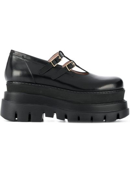 Czarne loafers skorzane klamry Msgm