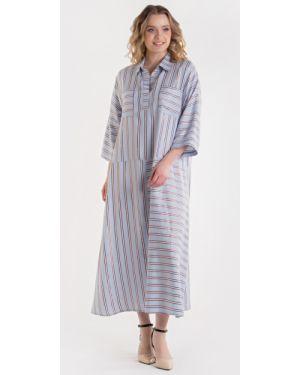 С рукавами летнее платье из штапеля с воротником с карманами Filigrana