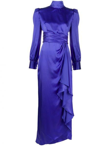 Фиолетовое шелковое с рукавами платье макси Alessandra Rich
