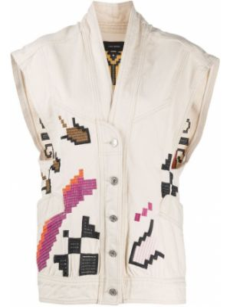 Джинсовая куртка без рукавов с вышивкой с воротником Isabel Marant