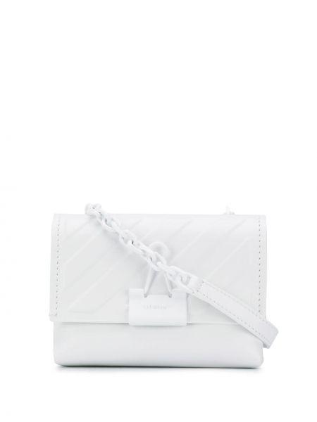 Белая кожаная сумка через плечо Off-white