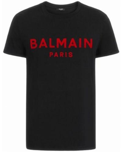 Czarna podkoszulka z printem Balmain