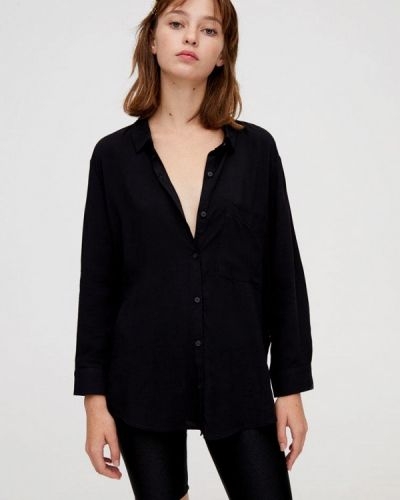 Блузка с длинным рукавом черная Pull&bear