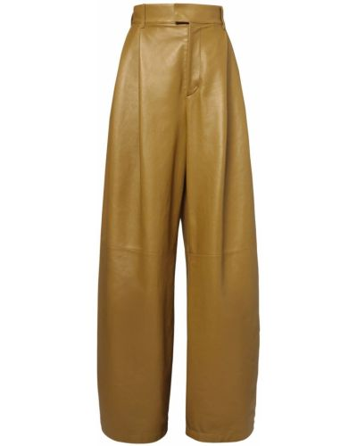 Зеленые кожаные брюки на молнии Bottega Veneta
