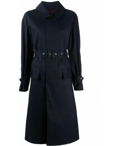 Синее шерстяное пальто классическое с воротником Maison Margiela