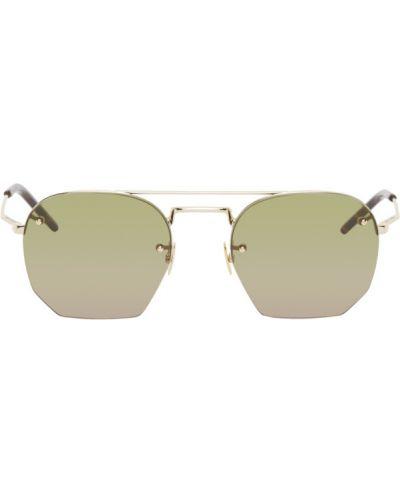 Złote czarne okulary Saint Laurent