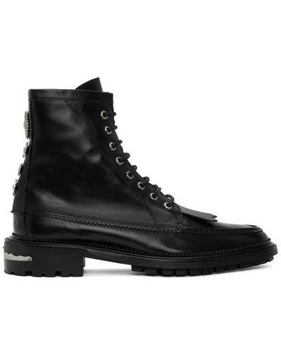 Кожаные черные сапоги с высоким голенищем на шнуровке на каблуке Toga Virilis