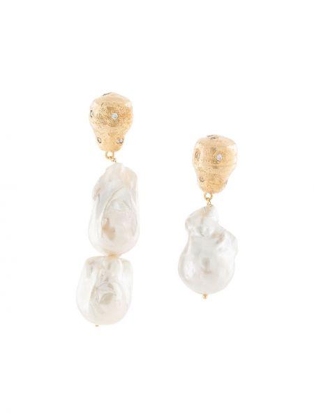 Białe złote kolczyki sztyfty perły Joanna Laura Constantine