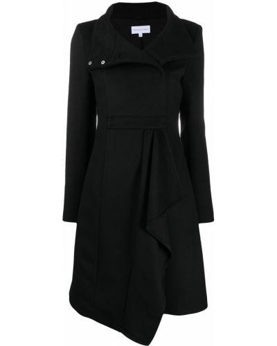 Однобортное шерстяное черное длинное пальто с воротником Patrizia Pepe