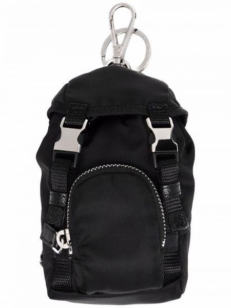Czarny plecak materiałowy z klamrą Prada
