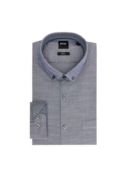 Puchaty niebieski koszula oxford z kieszeniami z mankietami Boss