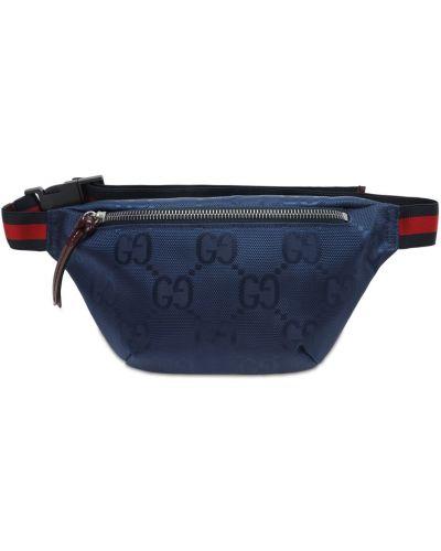 Niebieski nylon torba z paskiem z klamrą Gucci