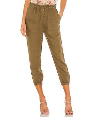 Зеленые брюки на резинке с карманами с открытым носком на пуговицах Joie