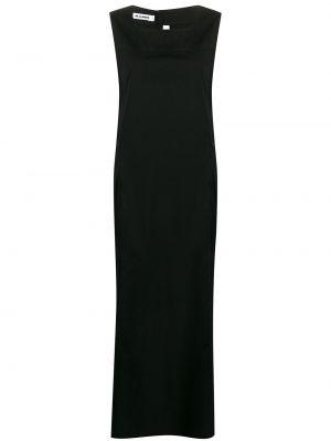 Черное платье макси без рукавов с вырезом круглое Jil Sander Pre-owned