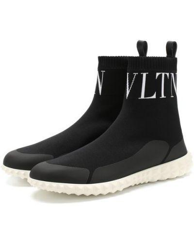 Высокие кроссовки на шнуровке текстильные Valentino