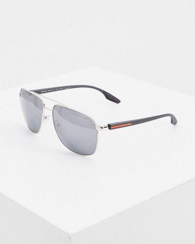 Серебряные солнцезащитные очки Prada Linea Rossa