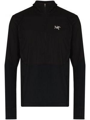 Czarna bluza z kapturem z długimi rękawami Arcteryx