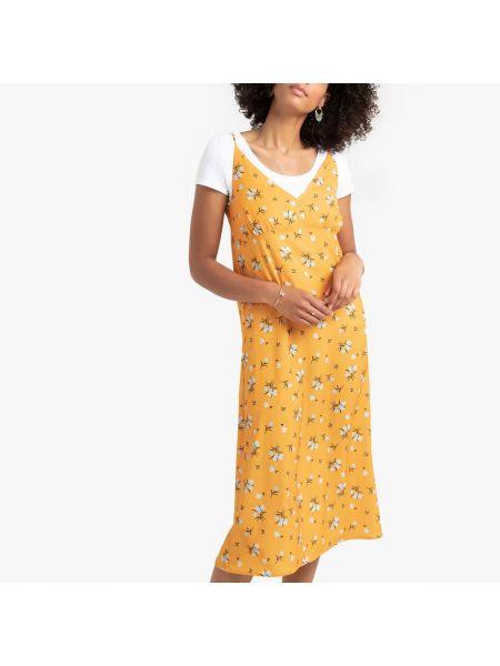 Платье миди на бретелях с V-образным вырезом La Redoute