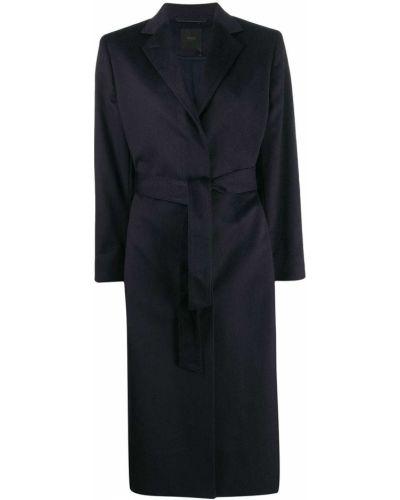 Синее кашемировое пальто классическое с поясом Agnona