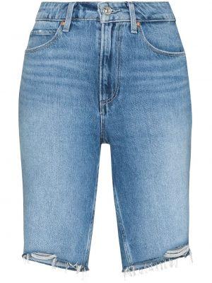 Хлопковые джинсовые шорты с завышенной талией на пуговицах Paige