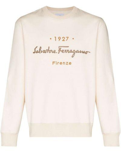 Beżowa bluza z haftem z długimi rękawami Salvatore Ferragamo