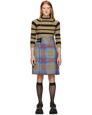 Плиссированная юбка шотландка кожаная Charles Jeffrey Loverboy