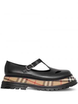 Кожаные бежевые туфли круглые Burberry