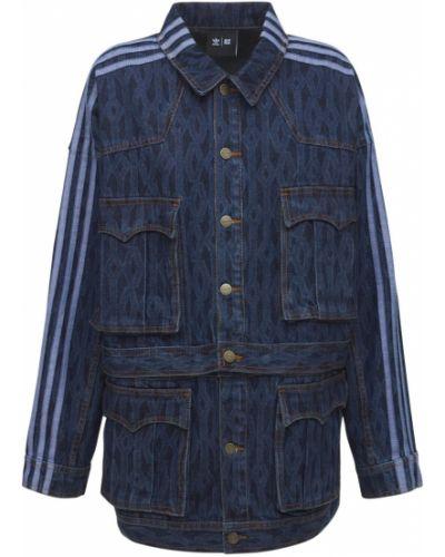 Синяя куртка на кнопках Adidas X Ivy Park