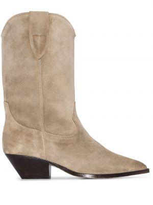 Brązowy skórzany kowboj buty Isabel Marant