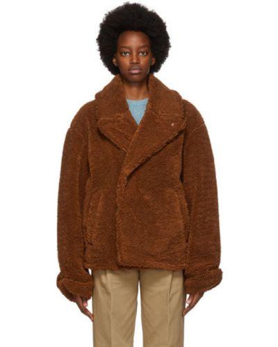 Brązowy długa kurtka z mankietami z łatami prążkowany Ader Error
