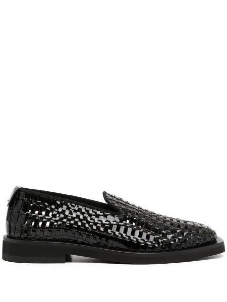 Кожаные черные туфли с квадратным носком без застежки Emporio Armani