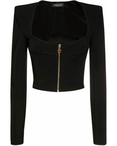 Трикотажная черная куртка с подкладкой Versace