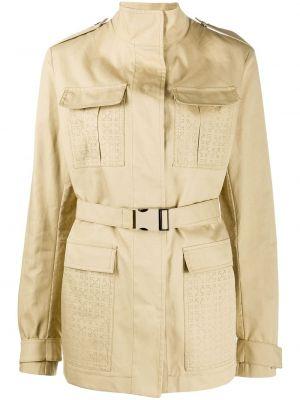 С рукавами белое пальто с воротником с перфорацией Off-white