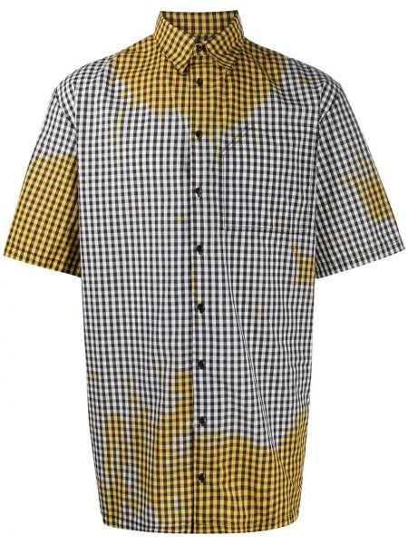 Желтая прямая рубашка с коротким рукавом с воротником на пуговицах Ottolinger
