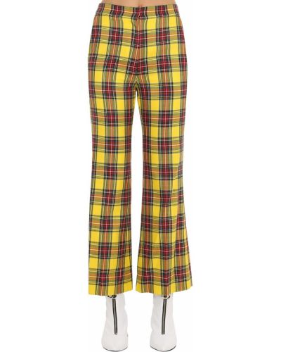 Spodnie w kratę rozkloszowane Pushbutton