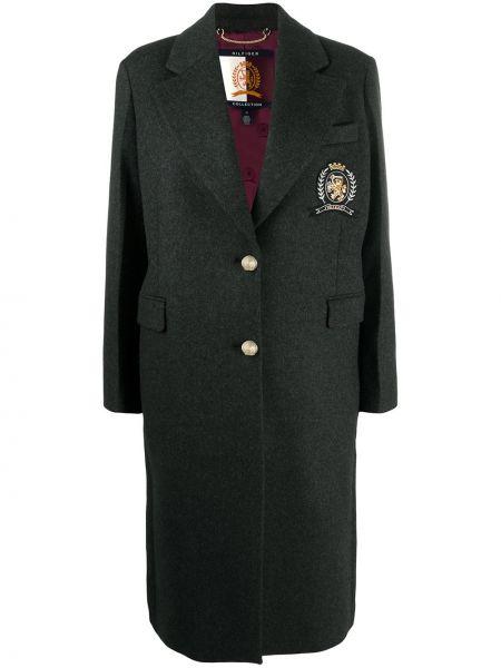 Серое шерстяное пальто свободного кроя Hilfiger Collection