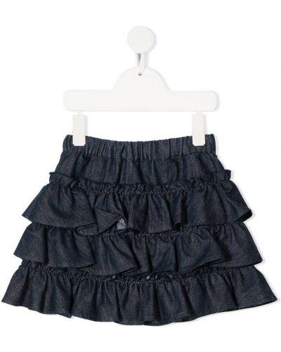 Ватная хлопковая синяя юбка с оборками Philosophy Di Lorenzo Serafini Kids