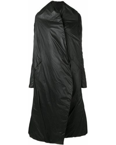 Черное длинное пальто с капюшоном Masnada
