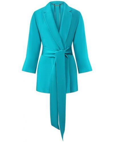 Шелковый бирюзовый пиджак с поясом свободного кроя Kiton