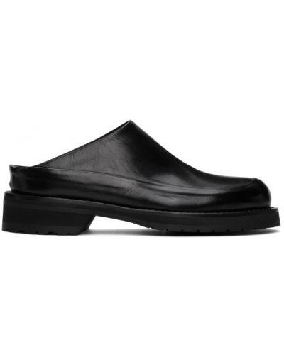Czarny skórzany loafers okrągły okrągły nos Ann Demeulemeester