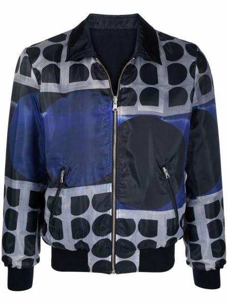 Czarna długa kurtka z długimi rękawami z printem Limitato