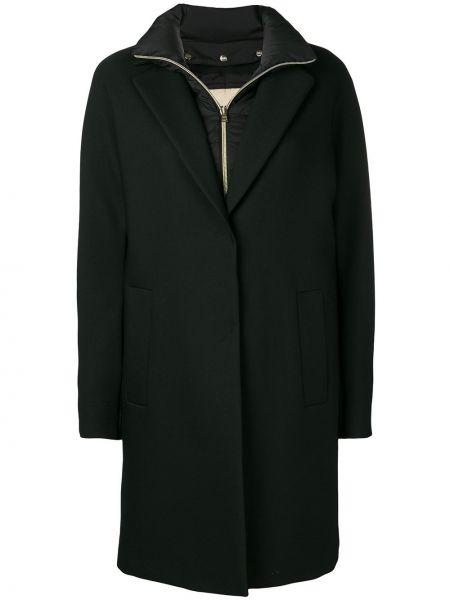 Długi płaszcz wełniany z kołnierzem Herno