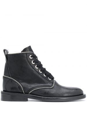 Кожаные черные ботинки на шнуровке Zadig&voltaire