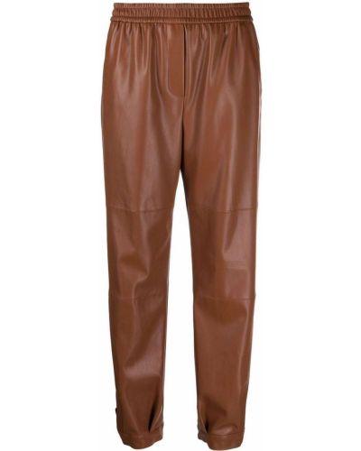 Кожаные брюки - коричневые Nude