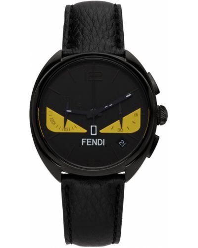 Czarny zegarek kwarcowy srebrny z klamrą Fendi